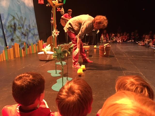 Niños disfrutando teatro